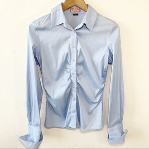 Thomas Pink Button Up Collared Blouse Ruched